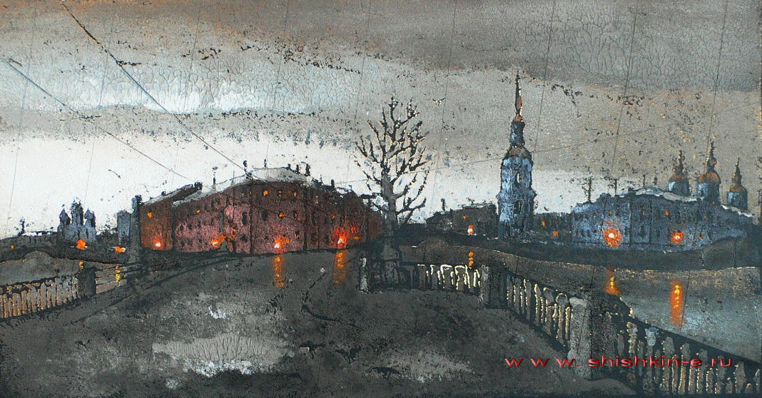 Kryukov Canal. St. Petersburg. author's technique. size 22 х 42 cm