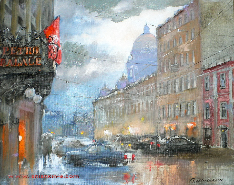 Malaya Morskaya Street. St. Petersburg. oil on canvas. size 40 х 50 cm